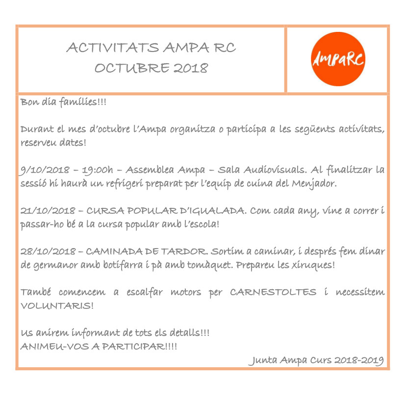 Activitats Octubre curs 2018-2019